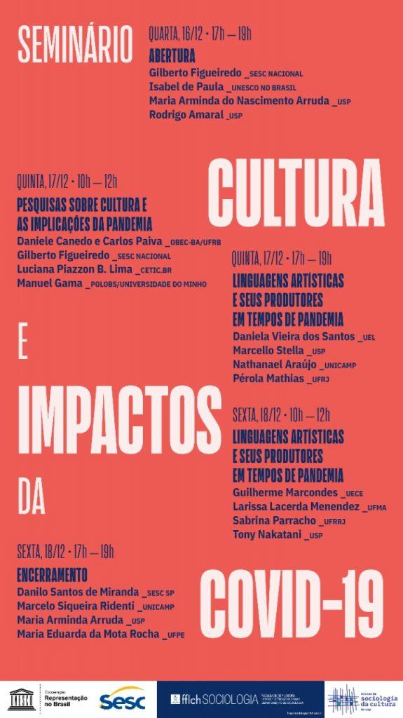 """Seminário """"Cultura e impactos da COVID-19 – 16/12 – 18/12"""